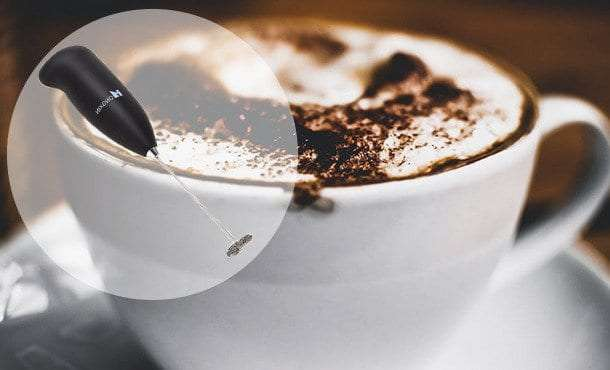 A close up of a coffee cup on a plate
